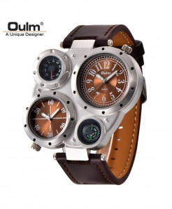 Oulm Coffee Round Alloy Compass Watch
