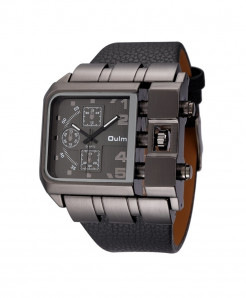Oulm Black Buckle Alloy Pu Square Dial Watch