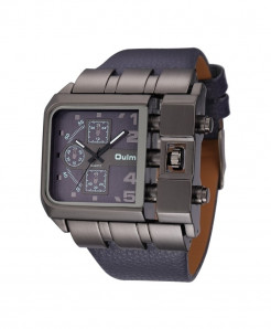 Oulm Blue Buckle Alloy Pu Square Dial Watch
