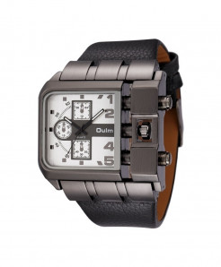 Oulm White Buckle Alloy Pu Square Dial Watch