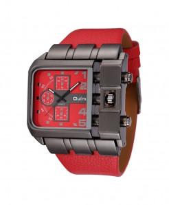 Oulm Red Buckle Alloy Pu Square Dial Watch