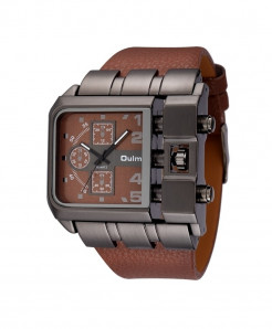 Oulm Brown Buckle Alloy Pu Square Dial Watch