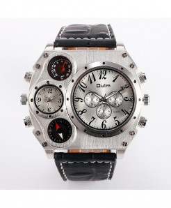 Oulm White Leather Compass Casual Watch