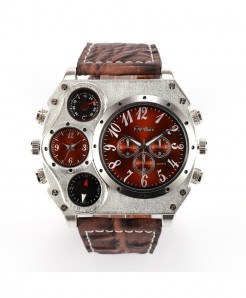Oulm Brown Leather Compass Casual Watch