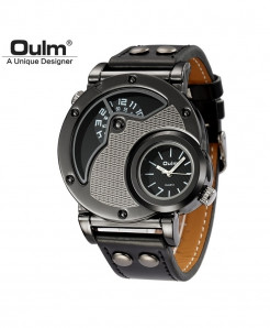 Oulm Gray Black Alloy Buckle Leather Strap Casual Watch