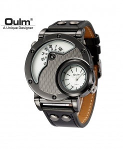 Oulm Gray White Alloy Buckle Leather Strap Casual Watch