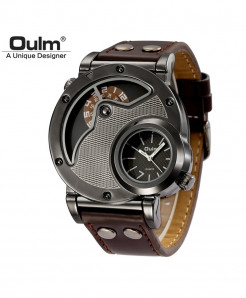 Oulm Dark Gray Alloy Buckle Leather Strap Casual Watch