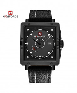 Naviforce Black White Red Square Alloy Casual Watch
