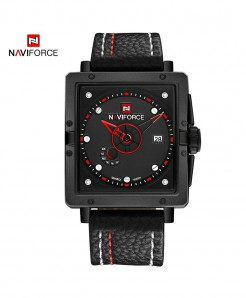 Naviforce Black Red Square Alloy Casual Watch