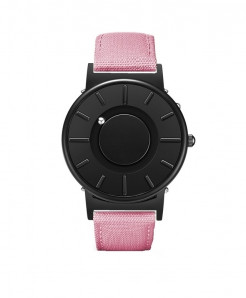 Eutour Black Pink Stainless Steel Hook Buckle Nylon Watch