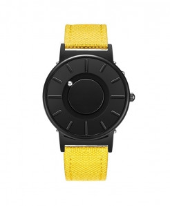 Eutour Black Yellow Stainless Steel Hook Buckle Nylon Watch