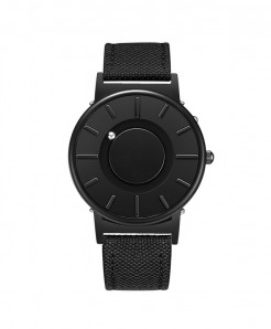 Eutour Black Stainless Steel Hook Buckle Nylon Watch