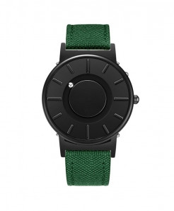 Eutour Black Green Stainless Steel Hook Buckle Nylon Watch