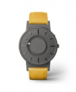Eutour Gray Yellow Stainless Steel Hook Buckle Nylon Watch