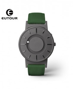 Eutour Gray Green Stainless Steel Hook Buckle Nylon Watch