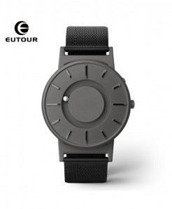 Eutour Gray Stainless Steel Hook Buckle Nylon Watch