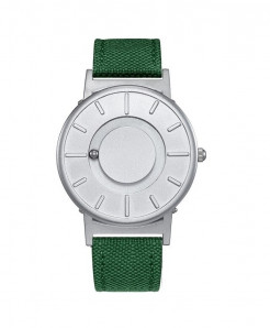 Eutour Silver Green Stainless Steel Hook Buckle Nylon Watch