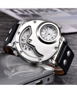 Oulm White Hardlex Dual Time Zone Buckle Casual Watch