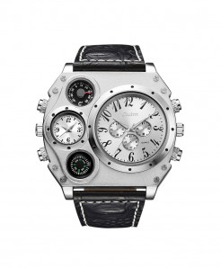Oulm White Buckle Alloy Analog Men Watch