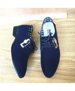 Mazefeng Navy Blue Lace-Up Canvas Breathable Casual Shoes