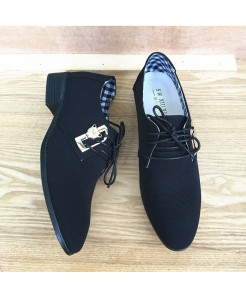 Mazefeng Black Lace-Up Canvas Breathable Casual Shoes