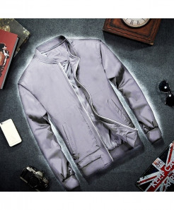 MRMT Gray Zipper Cotton Solid Polyester Jacket