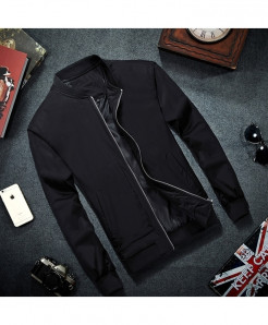 MRMT Black Zipper Cotton Solid Polyester Jacket