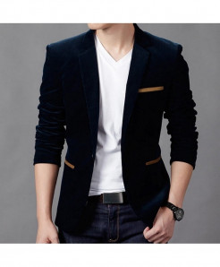 CW Navy Blue Polyamide Cotton Slim Fit Blazer