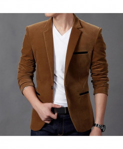 CW Brown Polyamide Cotton Slim Fit Blazer