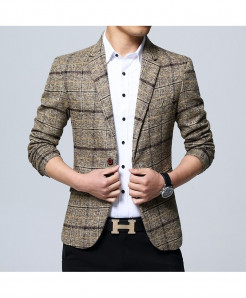 VODOF Khaki Polyester Lining Slim Fit Single Button Blazer
