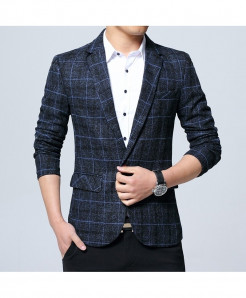 VODOF Blue Polyester Lining Slim Fit Single Button Blazer