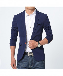 Navy Blue Flannel Cotton Spandex Blazer