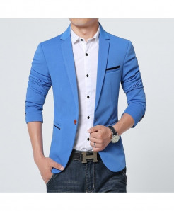 Blue Flannel Cotton Spandex Blazer