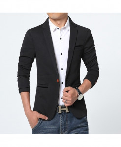 Black Flannel Cotton Spandex Blazer