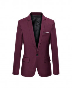 Hirigin Burgundy Plain Slim Fit Cotton Blazer