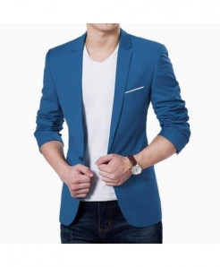 Hirigin Blue Plain Slim Fit Cotton Blazer