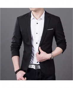 Hirigin Black Plain Slim Fit Cotton Blazer