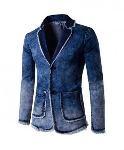 ZYFG Free Blue Polyester Denim Slim Fit Blazer