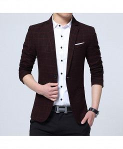 VODOF Red Cotton Slim Fit Single Button Blazer