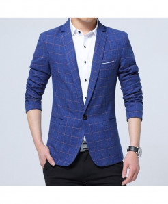 VODOF Blue Cotton Slim Fit Single Button Blazer