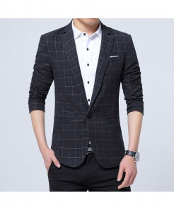 VODOF Black Cotton Slim Fit Single Button Blazer