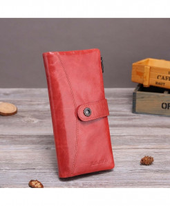 X.D.BOLO Light Red Genuine Leather Hasp  Zipper Wallet