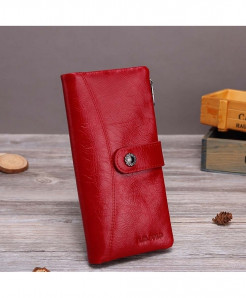 X.D.BOLO Red Genuine Leather Hasp  Zipper Wallet