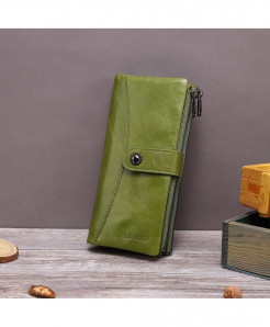X.D.BOLO Green Genuine Leather Hasp  Zipper Wallet