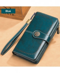 EIMORE Blue Split Leather Solid Button Wallet