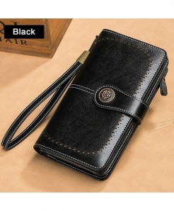 EIMORE Black Split Leather Solid Button Wallet