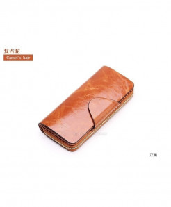SYNARA Camel Poucht Cowhide Zipper Genuine Leather Wallets