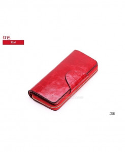 SYNARA Red Poucht Cowhide Zipper Genuine Leather Wallets