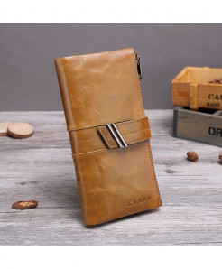 X.D.BOLO Coffee Genuine Leather Zipper Hasp Wallet
