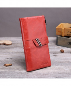 X.D.BOLO Red Genuine Leather Zipper Hasp Wallet